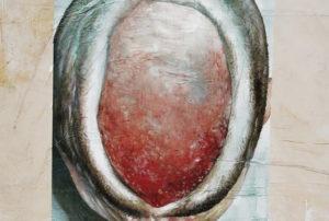 Détails de l'œuvre White Grounds 12 (artefacta) de Mandy El-Sayegh, peinture à l'huile sur toile de lin et matériaux divers, 2019. Image © Aurélien Mole.